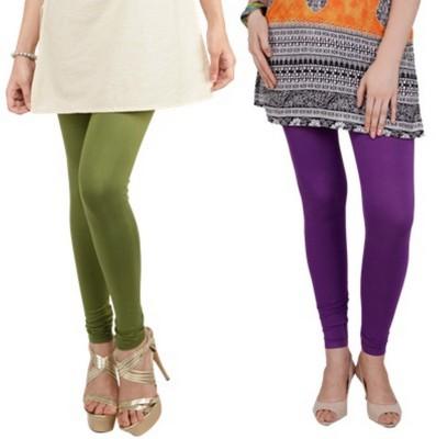 Bembee Women's Dark Green, Purple Leggings