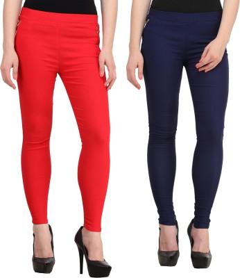Jainish Women's Red, Dark Blue Jeggings