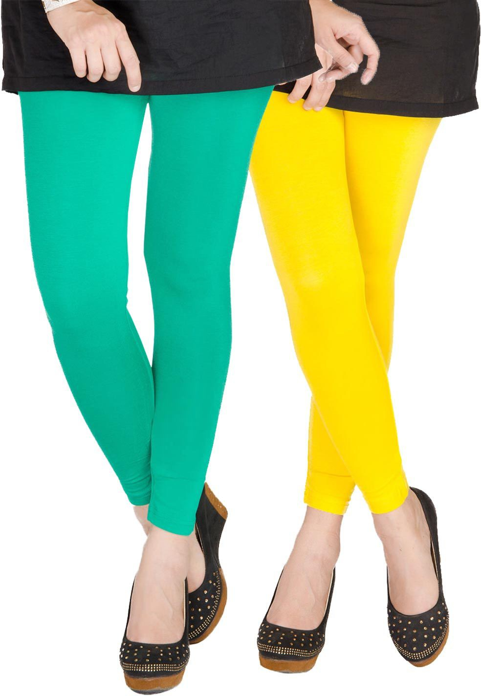 Medoo Womens Green, Yellow Leggings(Pack of 2)