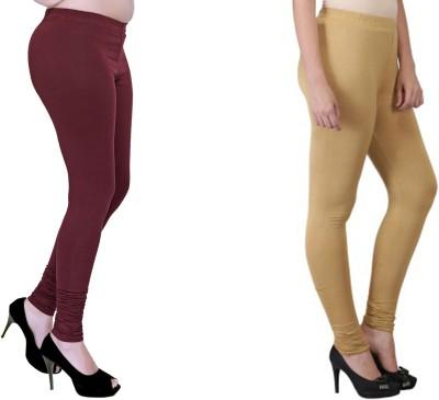Boofa Women's Maroon, Beige Leggings