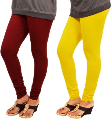 Leggings World Women's Maroon, Yellow Leggings