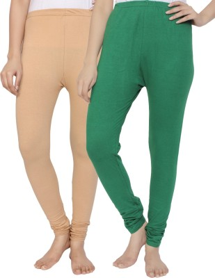 Krazy Katz Women's Beige, Green Leggings