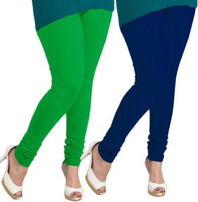 I-Diva Women's Green, Dark Blue Leggings
