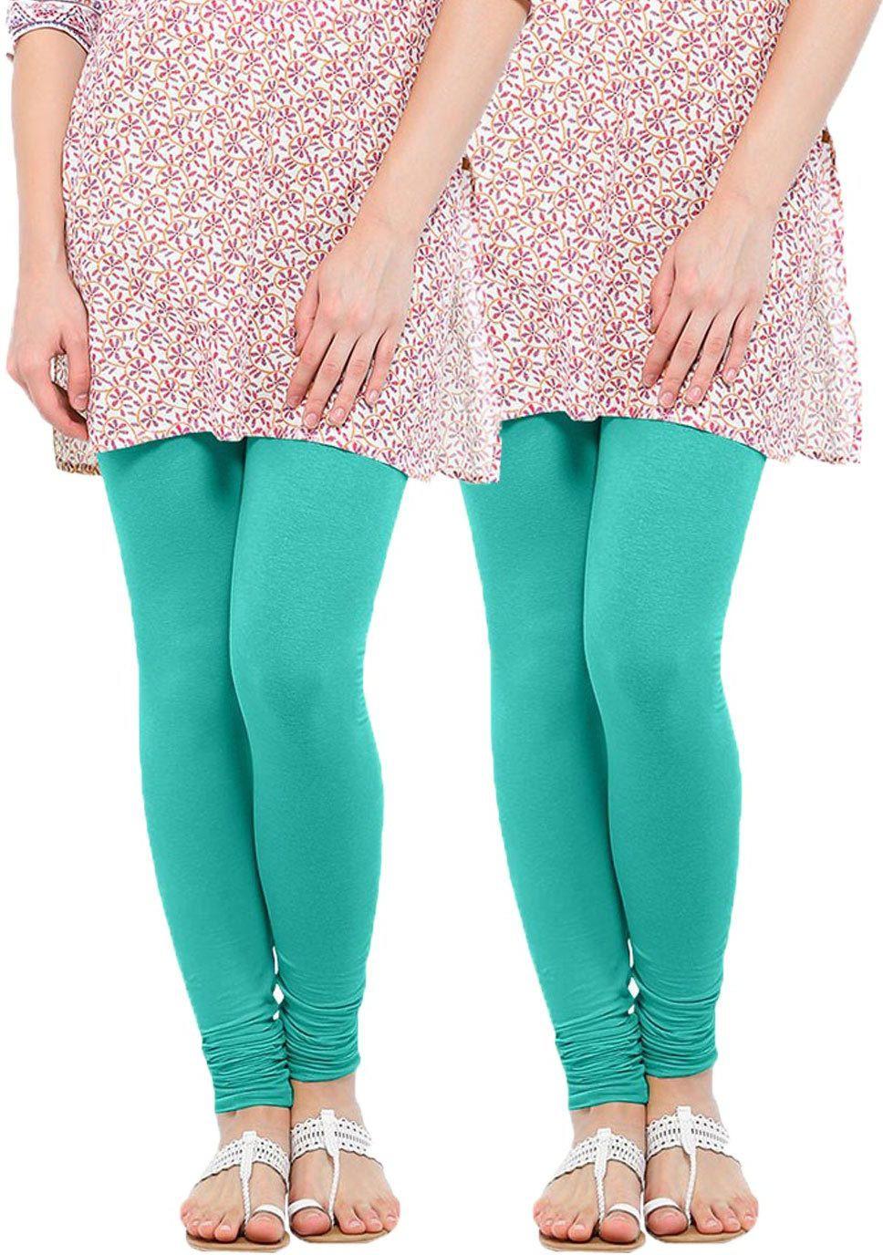 Linking Threads Womens Light Blue Leggings(Pack of 2)