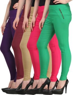 Jainish Women's Beige, Pink, Green, Purple, Maroon Jeggings
