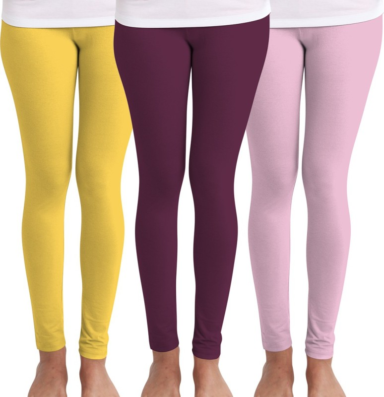 Huetrap Women's Yellow, Maroon, Pink Leggings(Pack of 3)