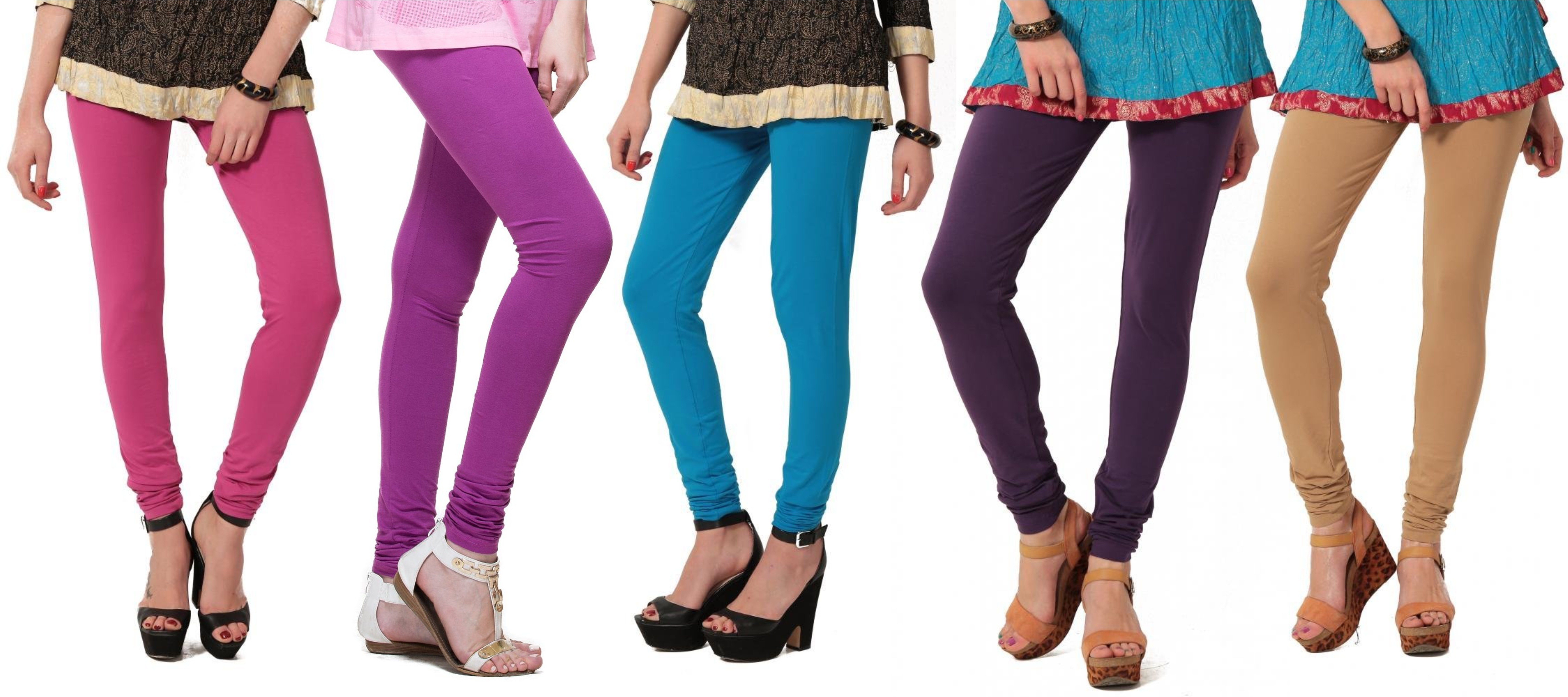Angel Soft Womens Pink, Purple, Light Blue, Purple, Beige Leggings(Pack of 5)