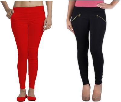 Universal Mart Women's Red, Black Jeggings