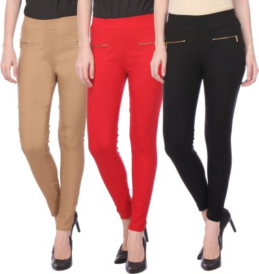 Flying Duck Women's Beige, Red Jeggings