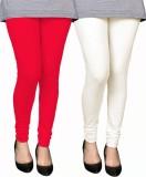 PAMO Women's Red, White Leggings (Pack o...