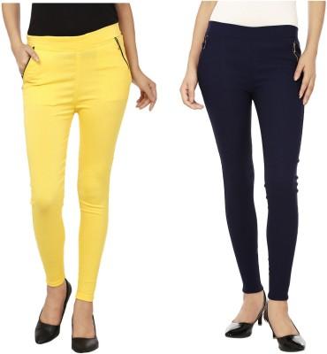 Emblazon Women's Yellow, Dark Blue Jeggings