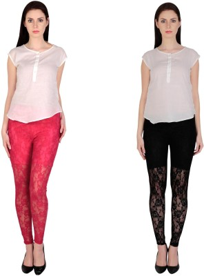 Simrit Women's Pink, Black Leggings