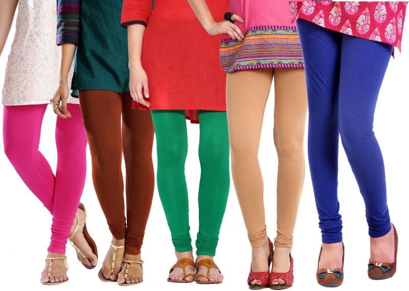 Rashi Women's Pink, Brown, Green, Beige, Blue Leggings(Pack of 5)