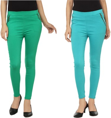 Emblazon Women's Green, Light Blue Jeggings