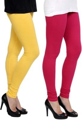 Pannkh Women's Yellow, Pink Leggings