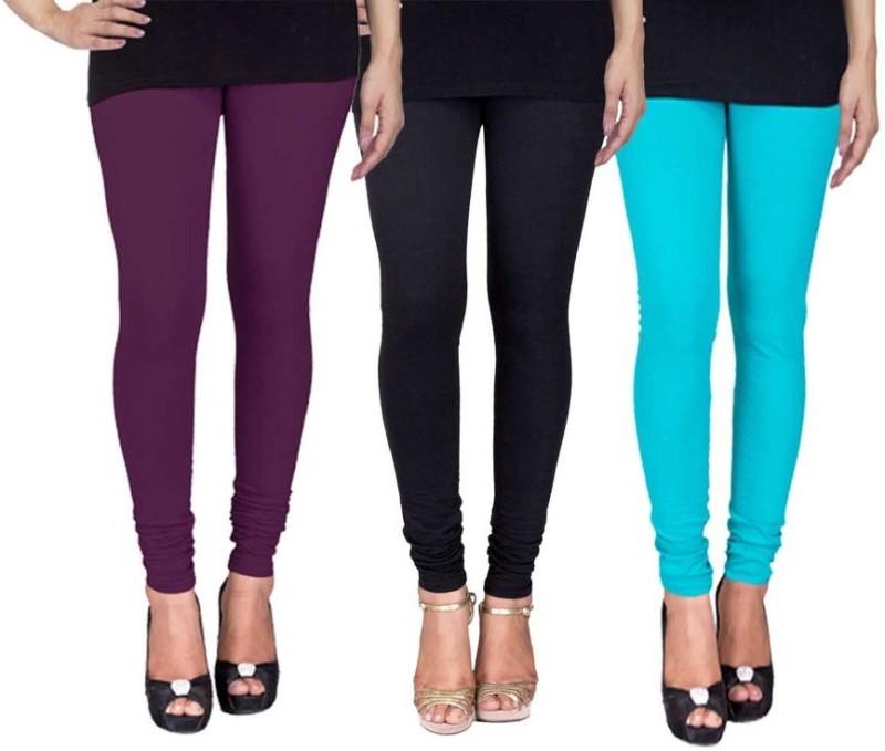 C&S Shopping Gallery Women's Purple, Black, Light Blue Leggings(Pack of 3)