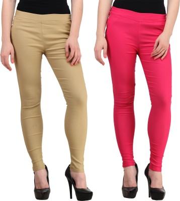 PRIHO Women's Beige, Pink Jeggings