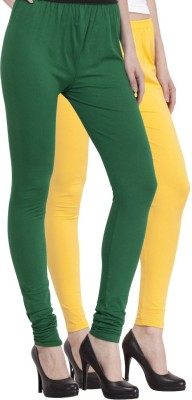 Venustas Women's Yellow, Dark Green Leggings