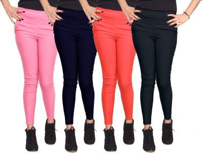 Xarans Women's Pink, Dark Blue, Orange, Black Jeggings