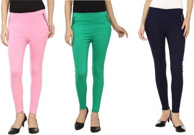 Emblazon Women's Green, Pink, Blue Jeggings