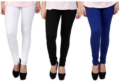 BuyNewTrend Women's White, Black, Blue Leggings(Pack of 3) at flipkart