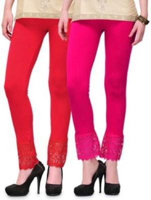 AbsoulteDesi Women's Red, Pink Leggings
