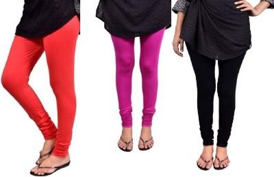 Saanvee Girl's Red, Pink, Black Leggings