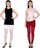 Simrit Women's White, Maroon Leggings (P...