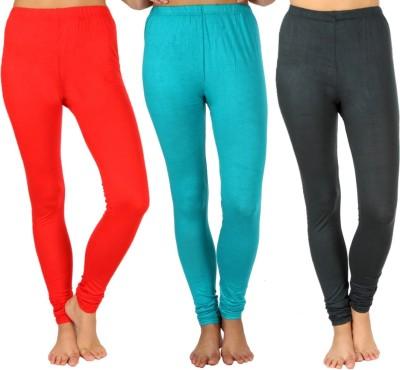 SLS Women's Red, Light Green, Dark Green Leggings