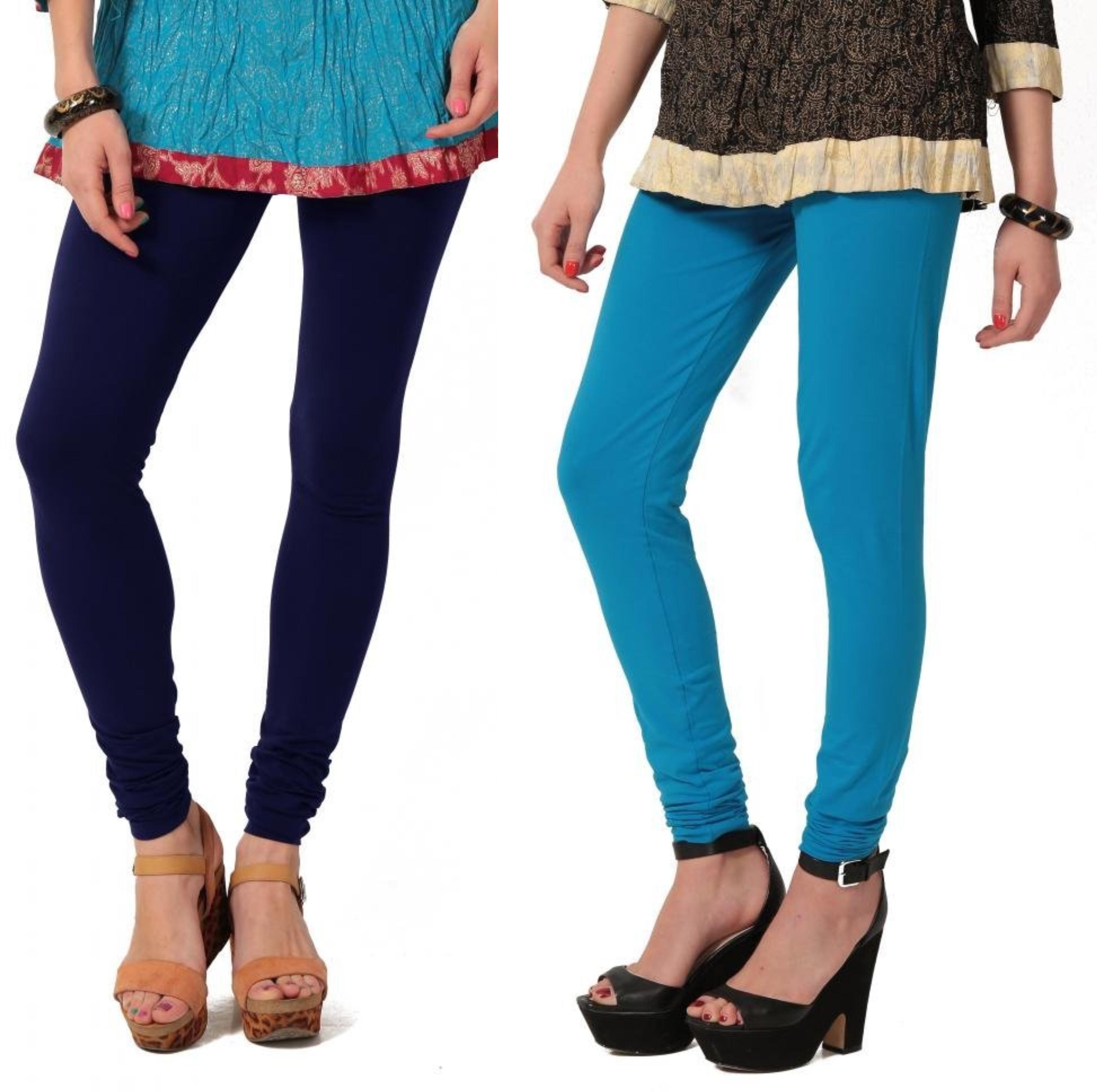 Angel Soft Womens Blue, Light Blue Leggings(Pack of 2)