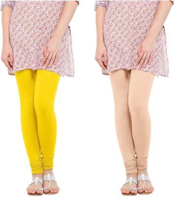 Oh Fish Women's Beige, Yellow Leggings