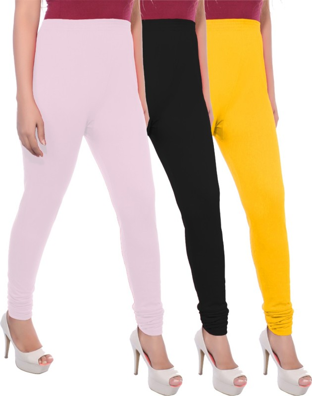 Apple Knitt Wear Women's Maternity Wear Pink, Black, Yellow Leggings(Pack of 3)