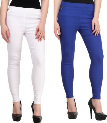 PRIHO Women's White, Blue Jeggings