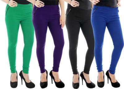 Paulzi Women's Green, Purple, Black, Blue Jeggings