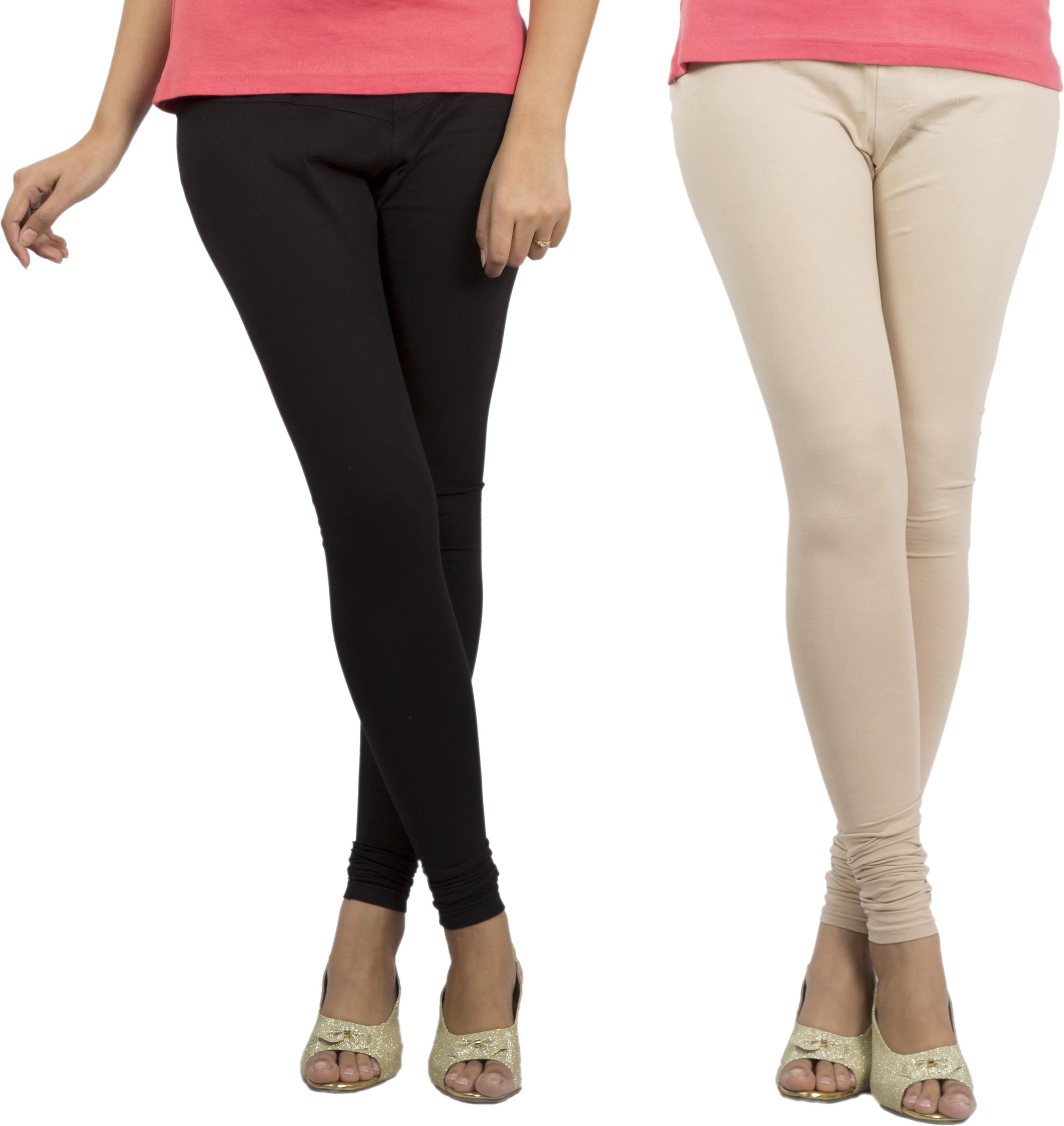 Jublee Womens Black, Beige Leggings(Pack of 2)