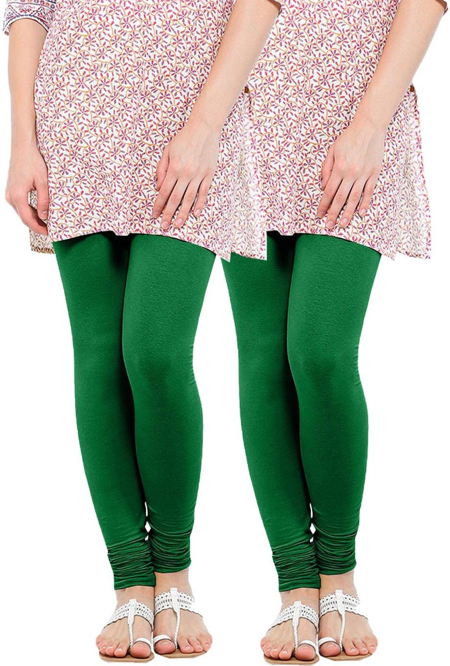 Linking Threads Womens Dark Green Leggings(Pack of 2)