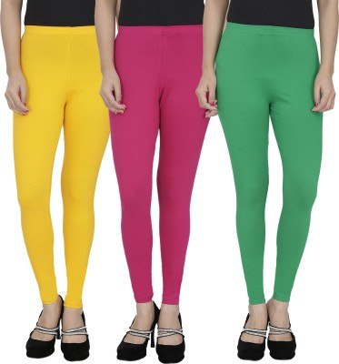 Anekaant Girl's Yellow, Pink, Green Leggings