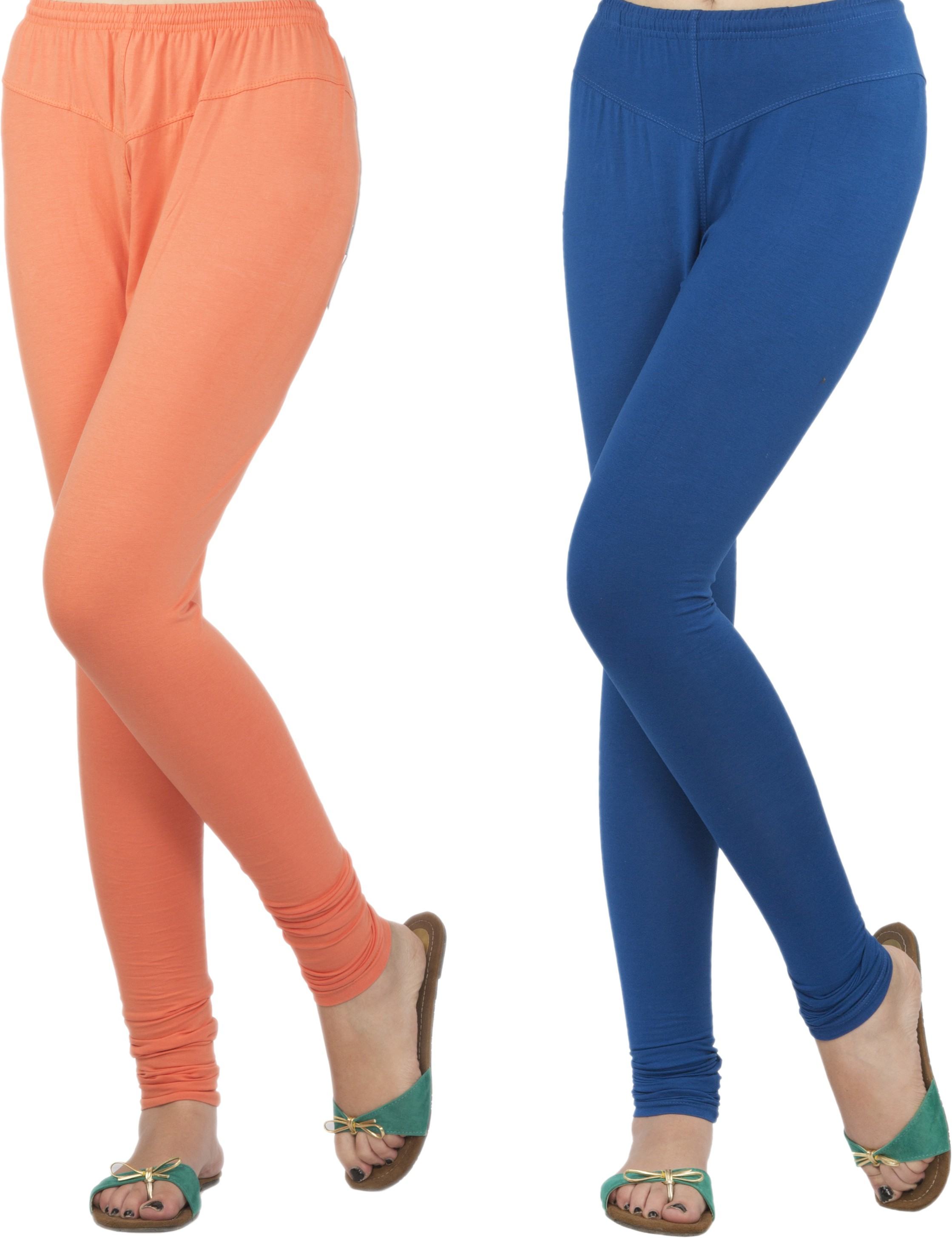 Jublee Womens Orange, Blue Leggings(Pack of 2)