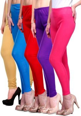 Rowena Women's Beige, Light Blue, Red, Purple, Pink Leggings