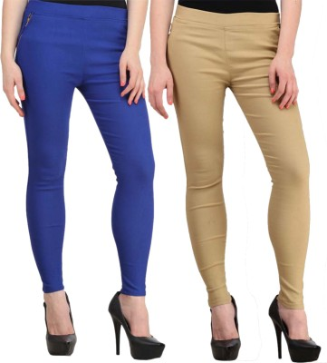 Atharv Collections Women's Beige, Blue Jeggings