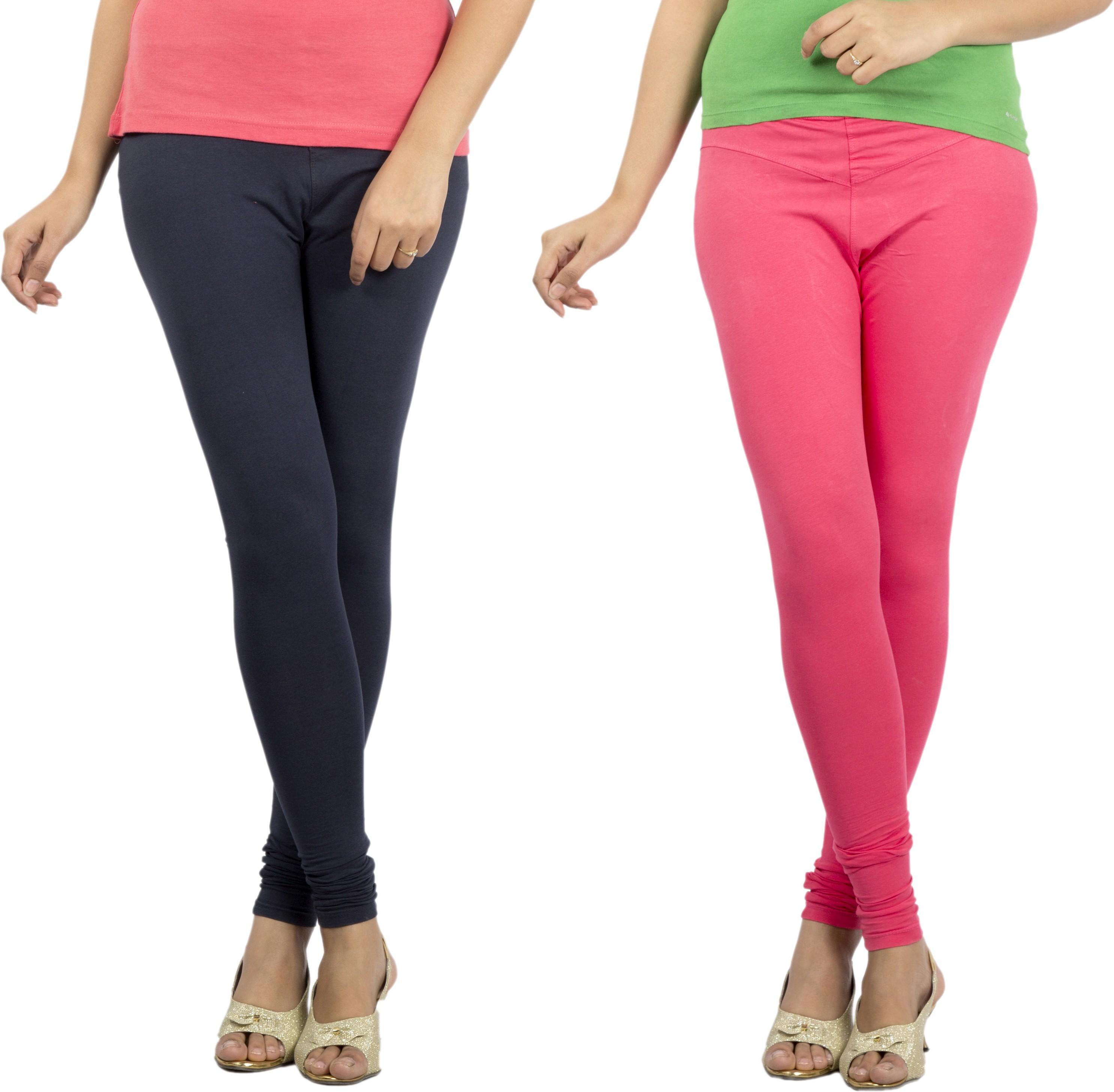 Jublee Womens Pink, Dark Blue Leggings(Pack of 2)