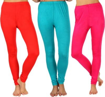 SLS Women's Red, Light Green, Pink Leggings