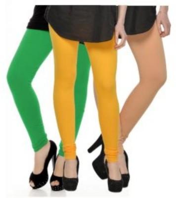 JUST CLIKK Women's Green, Yellow, Gold Leggings
