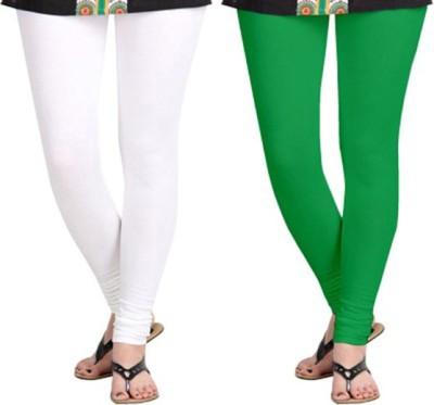 shivam Garments Women's White, Green Leggings