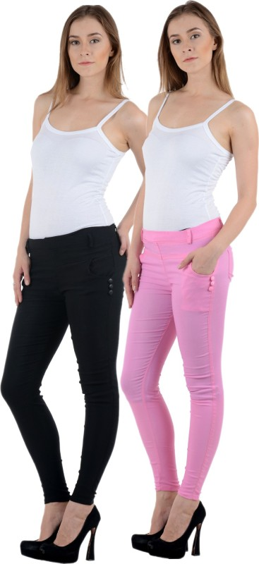 Smart Fashion Women's Multicolor Jeggings(Pack of 2)
