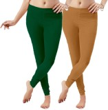 LGRL Women's Green Leggings (Pack of 2)