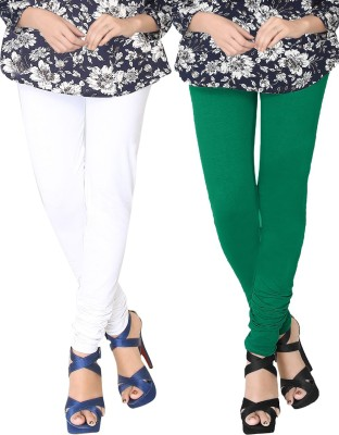 JV Wears Women's White, Green Leggings