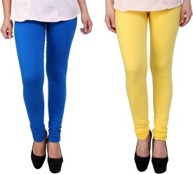 Adolf Fashion Women's Blue, Yellow Leggings(Pack of 2)