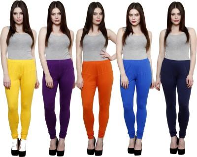 Pistaa Women's Yellow, Purple, Orange, Blue, Dark Blue Leggings