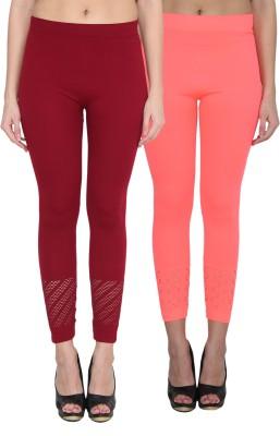 NumBrave Women's Maroon, Pink Leggings